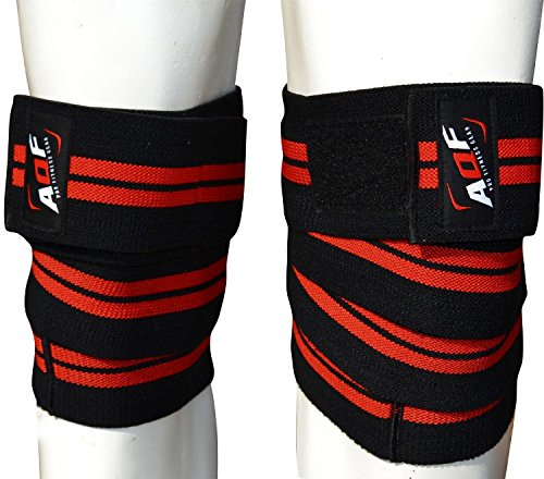 AQF Knee Wraps Weight Lifting Bandage Heavy Duty Elasticated Support Straps...