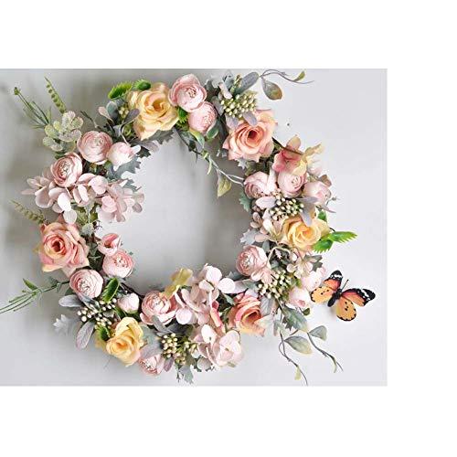 Yw-Flower kunstbloemen kransen, nep zijde roos krans herfst voordeur scherm, handgemaakt, Geschikt voor bruiloft/familie/feest/kerst/open haard