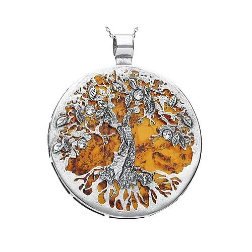 MILENA Pendant Necklace Silver and Baltic Amber - Stunning Tree of Life