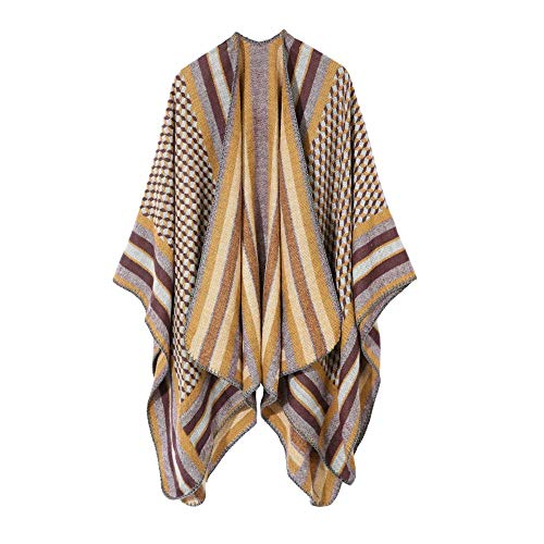 DANWJDP Poncho Für Damen,Mode Gelbe Geometrische Schal Wickelt Mantel Weibliche Elegante Lose Batwing Schal Poncho Tops Herbst Winter Damen Warmen Poncho Cape Strickjacke Mit Doppeltem Fell