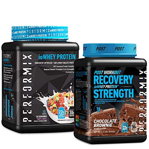 193 Performix ioWHEY Protein Powder Bundle - Chocolate Brownie and Fruity Cereal - 36 Servings - 100% Whey Isolate Protein for Quick Absorption and Post Workout - 22g Protein, Low Carb and No Sugar