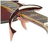 Weuiean ギターカポ カポタスト バネ式カポタスト ワンタッチカポ サメ型 シャーク カポ ギター アクセサリー 亜鉛合金製 エレキギター/アコースティックギター/ウクレレ/ベースなどに適用 (ローズゴールド)
