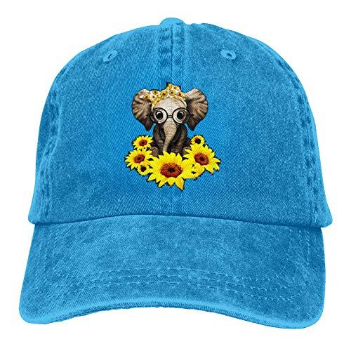 Elefant Sonnenblume Unisex Baumwolle Denim Baseball Cap Sport Hut Casual Sonnenhut Cowboy Cap Schwarz Gr. One size, blau
