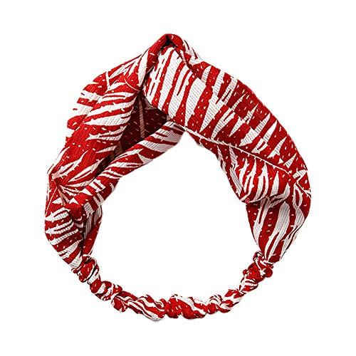 Haodou Bow - Diadema elástica para mujer, diseño de hojas de palma, estilo de vacaciones, para yoga, estudiantes, mujeres y niñas, color rojo