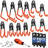 NEAT SPACE Garage Hooks Heavy Duty [ 17 Piece Set ] - Our Garage Hooks Wall Mount to Any Surface; Garage Organization and Storage; Garage Storage Hooks; Garage Hangers; Garage Wall Hooks Heavy Duty