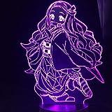 Lámpara de noche 3D con diseño de anime Kimetsu No Yaiba 3D Nezuko Kamado Demon Slayer 3D LED luz nocturna para niños dormitorio decoración lámpara de mesa cumpleaños regalo 7 colores tocando