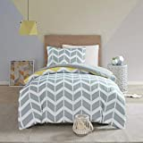 Nadia Single Size Bedding Set, Fashion Chevron Printed Duvet Cover and 1 x Pillowcase Trendy Quilted Bedspread, Yellow/Grey