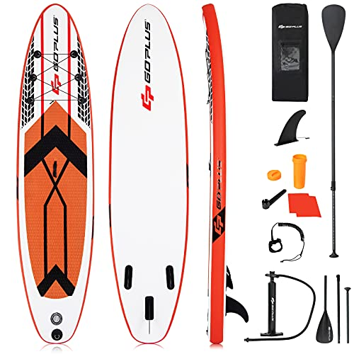 Goplus 10.5' Inflatable Stand Up Paddle Board SUP Cruiser with Fin, Adjustable...