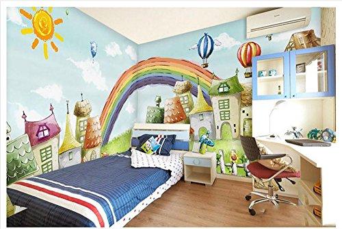 Qinmon 3D Wandbild Tapete Casa Arco Iris Puente Pinturas De Niños Wand-Aufkleber Wohnzimmer Schlafzimmer 200Cmx150Cm|78.74(In) X59.05(In)