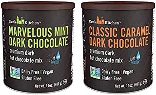 Natural Hot Chocolate Mix Variety Pack - Dairy-Free, Vegan Complete Mixes - Just Add Water - Pack of 2 (Classic Caramel Dark Chocolate & Marvelous Mint Dark Chocolate) 14 oz Each