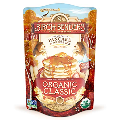 Organic Pancake and Waffle Mix, Classic Recipe by Birch Benders, Whole Grain, Non-GMO, Just Add Water, 16oz (Packaging may vary)