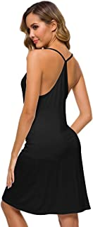 WiWi Womens Bamboo Comfy Sleep Shirt Slip Sexy Night Dress S-XL
