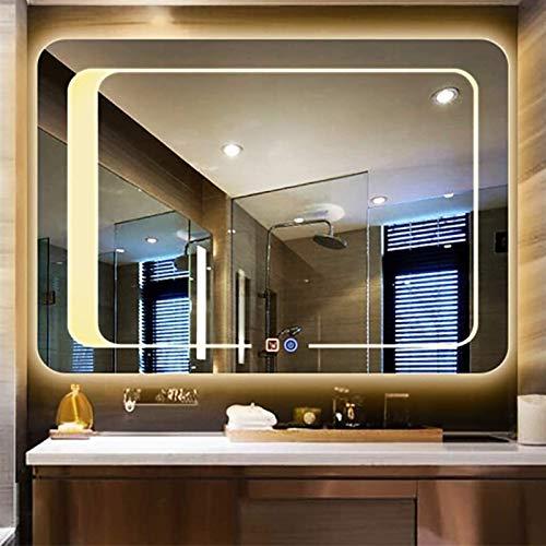 600x800mm Baño Iluminado LED LED Montado en la Pared Horizontal/Vanidad Colgante Vertical con Interruptor táctil de luz Blanca/Caliente + Tiempo/Desfalga Decorativo Espejo