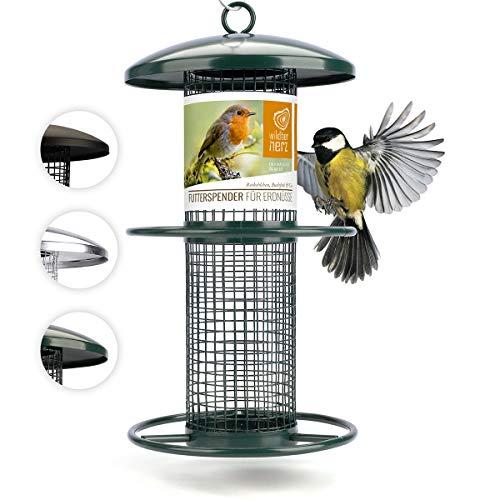 corazón animal salvaje | Comederos para aves de comida de grano, 25 cm, con plazas de acero inoxidable, columna de alimentación para pájaros, lleno de maní [verde]