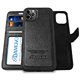 AMOVO Leather Case for iPhone 11 Pro Max (6.5'') [Genuine Leather] iPhone 11 Pro Max Wallet Case Detachable [2 in 1 Folio] [Wristlet] iPhone 11 Pro Max Leather Folio (11ProMax, Genuine Leather Black)