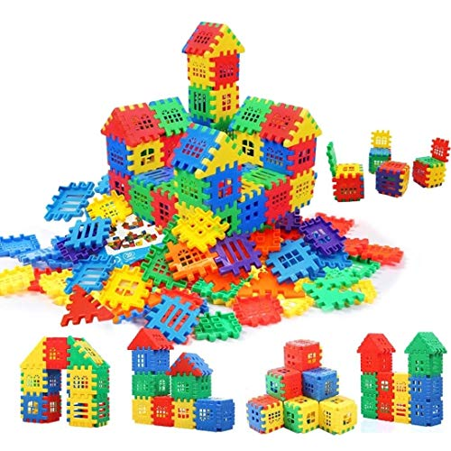 AdiChai 150 PCs and Additional Attractive Windows Medium Sized Happy Home House Building Blocks with Smooth Rounded Edges - Building Blocks Toys and Games for Kids (150 +) - Blocks Game