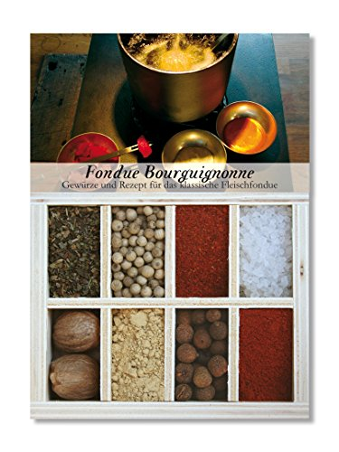 Fondue Bourguignonne – 8 Gewürze Set für das Fondue mit Öl (52g) – in einer schönen Holzbox – mit Rezept und Einkaufsliste – Geschenkidee für Feinschmecker von Feuer & Glas