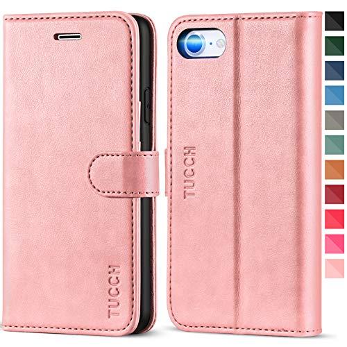 TUCCH iPhone SE 2020 Hülle, iPhone 8 Lederhülle, TPU Handyhülle [Aufstellfunktion] [Kartenfach] [Magnetverschluss] [Lifetime Garantie], Stoßfeste Etui für iPhone SE2/8/7 (4,7 Zoll) Rosagold