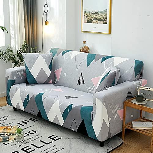 Funda de sofá elástica con Estampado de Hojas pastorales Funda de Cuatro Estaciones Funda Ajustada Funda de sofá elástica Universal para Sala de Estar A17 4 plazas