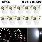 Zreal Lot de 10 ampoules LED SMD T5-b8.5d-5050smd, pour voyant de tableau de bord, témoins lumineux du compteur ou jauge - Tension : 12V