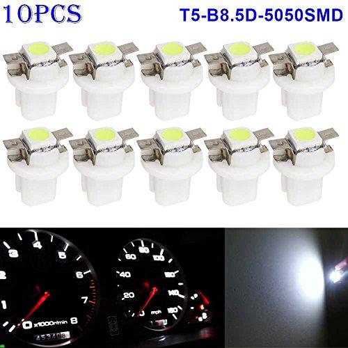 Zreal Lot de 10 ampoules LED SMD T5-b8.5d-5050smd, pour voyant de tableau de bord, témoins lumineux du compteur ou jauge - Tension : 12 V