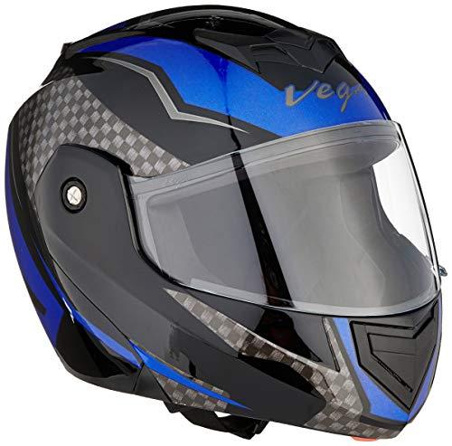 Vega Crux DX Checks Full Face Helmet (Black and Blue, M)