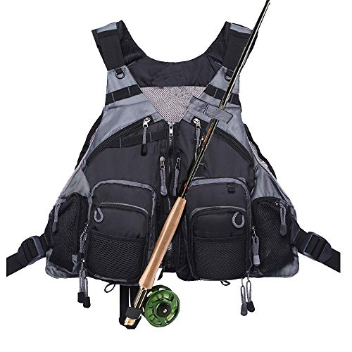 Kylebooker Fly Fishing Vest Pack Adjustable for Men and Women (Black)