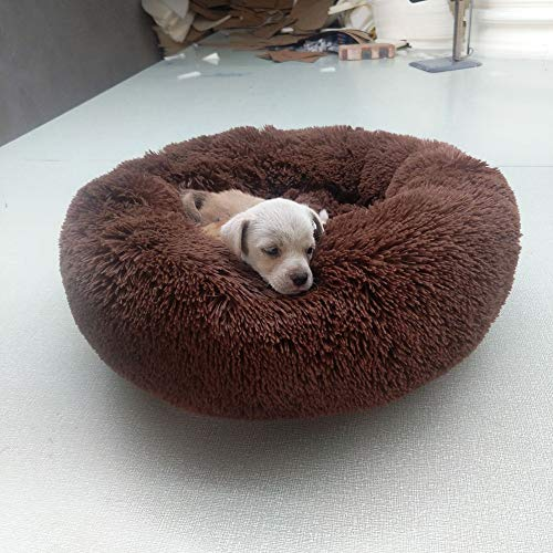 XSARACH Donut Huisdierbed, warme ronde hondenhoed, katten- en hondenhuisdiermat, comfort en warmte, antislip onderkant, machinewas