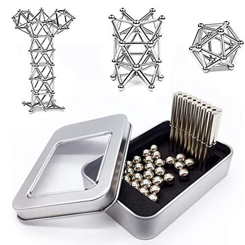 0BEST Juego Bloques construcción magnéticos, Juego apilamiento Palo construcción magnética Se Puede...