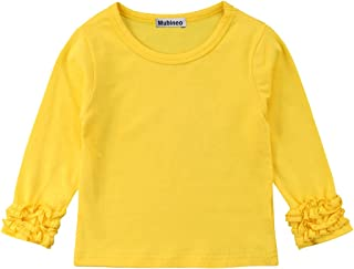 Mubineo Toddler Baby Girl Basic Plain Ruffle Cuff Long Sleeve Cotton T Shirts Tee Tops
