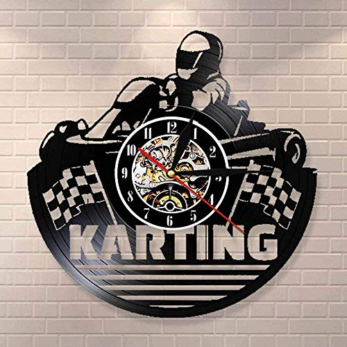 ZZLLL Reloj de Pared con Disco de Vinilo Retro Kart, decoración Moderna de Kart, Reloj de cronometraje Deportivo, Reloj de Pared, Arte Creativo, Kart Racer