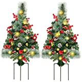 Juegoal 2 Pack 30 Inch Pre-Lit Pathway Christmas Trees, Artificial Christmas Urn Filler with 60 LED Lights, Red Berries and Pine Cones Ornaments, Battery Operated Holiday Dcor for Driveway, Yard