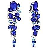 Clearine MujerBohemio Boho Cristal Boda Novia Lágrima Chandelier Clip-On Dangle Floral Pendientes Azul