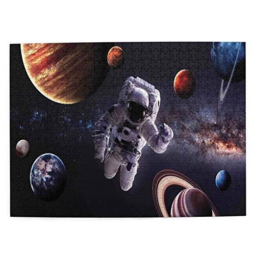 Rompecabezas Puzzle 500 Piezas Astronauta Entre Planetas Marte Neptuno Júpiter Plasma Esfera Etérea Imagen Inteligencia Jigsaw Puzzles para Adultos Niños Juegos