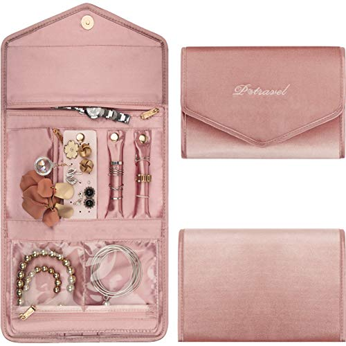 P Travel Jewelry Organizer Soft Velvet Jewelry Case for Traveling Foldable Jewelry Roll for Earrings Necklaces Rings Bracelet Pink