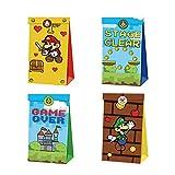 12pcs Super Mario Party Gift Bag Bolsas de dulces de cumpleaños Bolsa de papel reutilizable Kids Mario Party Cajas para suministros de fiesta de cumpleaños temáticos Regalar para niños