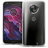 iGadgitz U6751 Glänzend Etui Tasche Hülle Gel TPU für Motorola Moto X4 (Lenovo Moto X4) Hülle Cover + Bildschirmschutzfolie - Transparent Klar