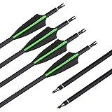 SHARROW 12pcs Freccia di Carbonio 30 Pollici Spine 500 Tiro con L'Arco in Carbonio Frecce per Arco Compound Ricurvo (Verde)