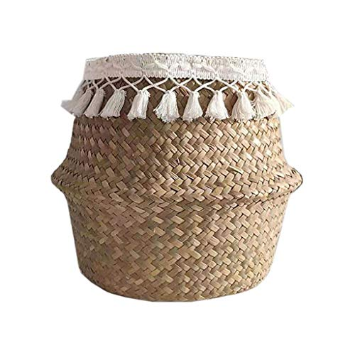 Folding Storage Basket Rattan Straw Wicker Flower Pot Seagrasss Gardens Plant, Tools Home Improvement Hotsales, for Halloween Day (As Show)