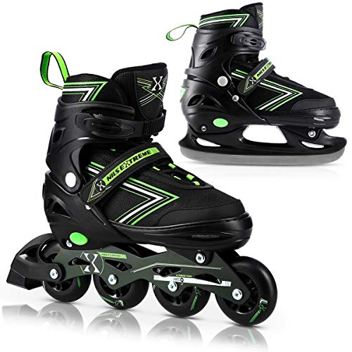 Nils Extreme 2 in1 Skates Kinder Rollschuhe, 39-42 Sport Fitness für Kinder Jugendliche, schwarz-grün, NH11912, Starke ABEC9 Lager, Gummiräder, mit Größenverstellung