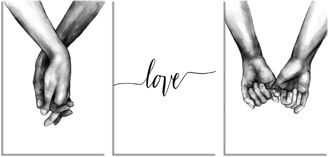 OFFicial Long-awaited Love and Hand in Wall Art Whi Canvas Poster Black Print