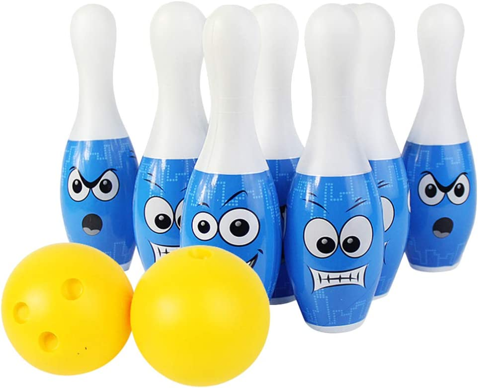 NUOBESTY 1 Set Bowling Pins Ball Game Funny Plastic Skittles Gam
