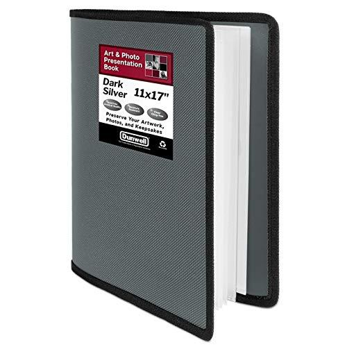 Dunwell Art Portfolio 11x17 Folder - (Dark Silver), Large Portfolio Folder for Artwork, Art Folder has 24 Pockets, Display 48 Pages, Fits 11 x 17 or A3 Sketches, Presentation Book with Clear Sleeves