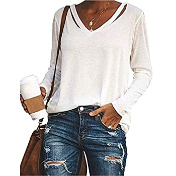 Onedreamer Womens Cutout Long Sleeve Tunic Tops V Neck Casual Loose Ripped Basic Solid Shirts