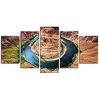 5ピースホースシューベンド–画像装飾米国アリゾナグランドキャニオンコロラド旅行サイト峡谷川自然景観画像写真装飾壁壁画16x24in、16x32in、16x40inフレームなし