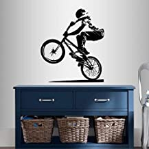 Wall Vinyl Decal Home Decor Art Sticker BMX Cyclist Jump Bicycle Extreme Sports Bike Rider Guy Boy Room Removable Stylish Mural Unique Design
