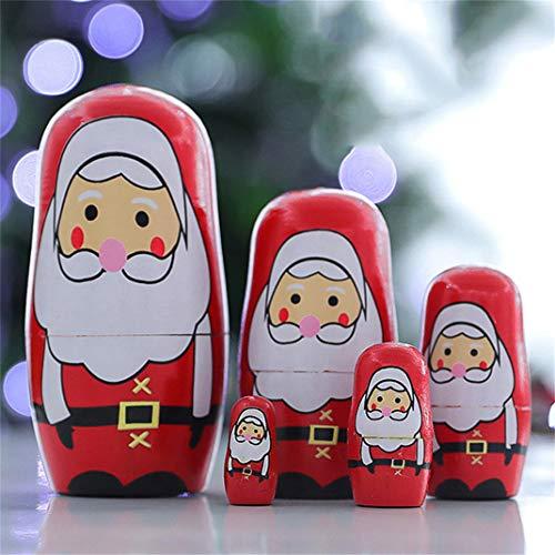 ZYHO Airlove 5pcs Nesting Dolls Handgemachte Holz Schneemann Santa Claus Russische Matroschka Puppen Weihnachten Geburtstagsgeschenk für Kinder