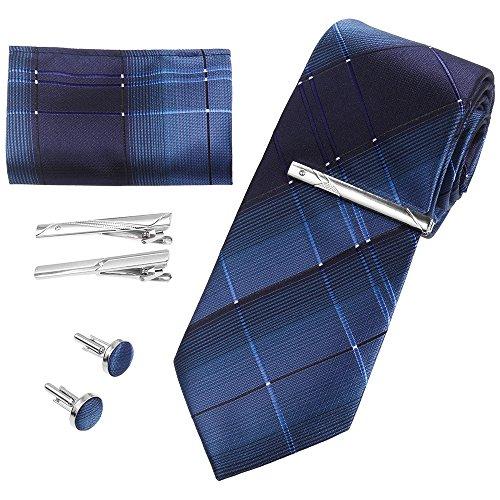 Rovtop Corbatas de Hombre Enrejado Caja Regalo Conjunto con Lazos, Gemelos,Pañuelo, 3 Clips de Lazo,…