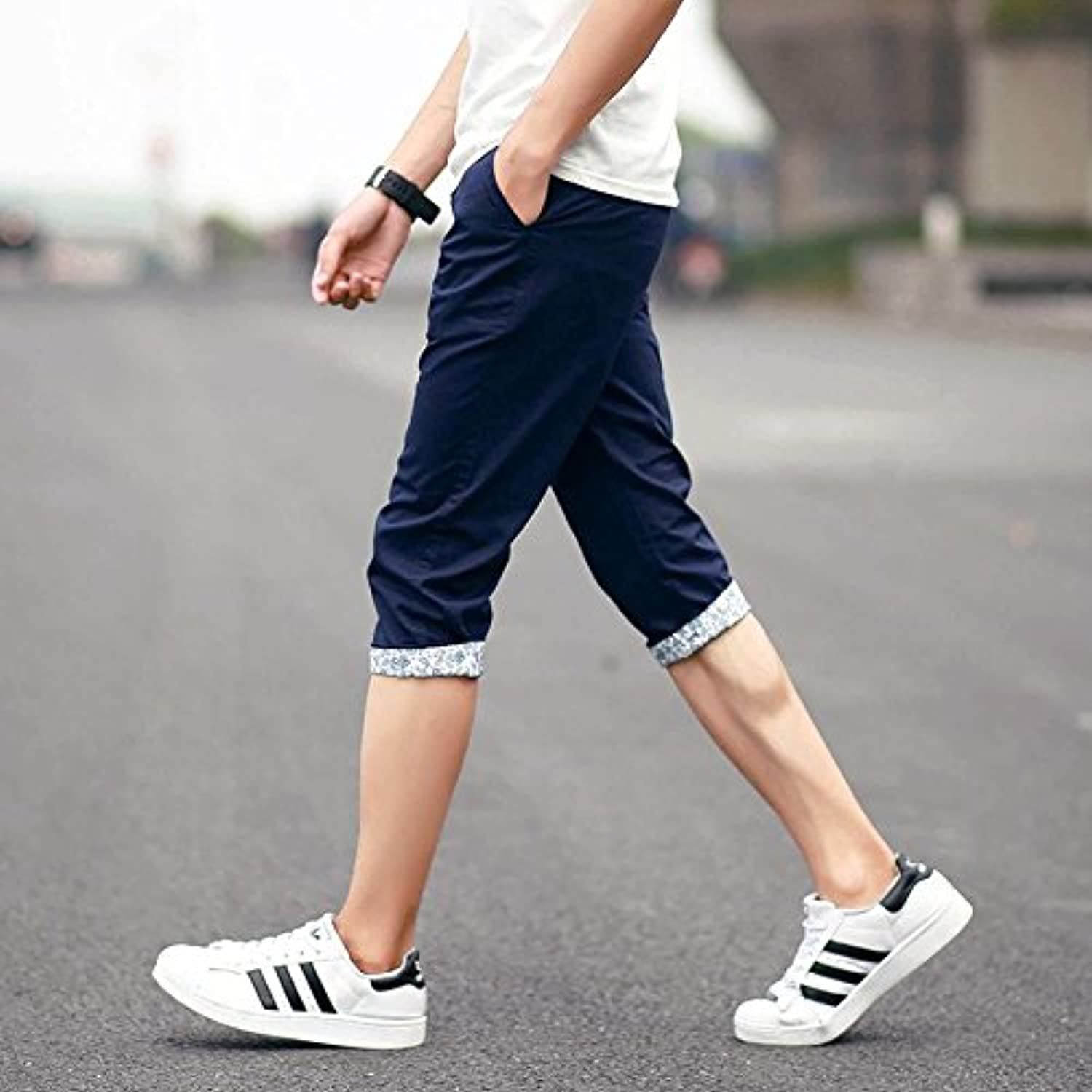 2016 Summer men's straight leg cropped jeans Shorts Pants young people plus size trendy man cropped trousers