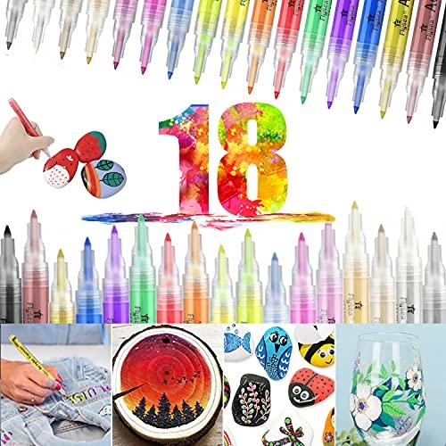 Acrylstifte für Steine Bemalen Wasserfest 18 Farben Acrylfarben Stifte 0.7mm Permanent Marker Set...